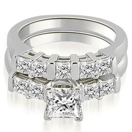 1.75 cttw. 14K White Gold Princess Cut Diamond Engagement Bridal Set