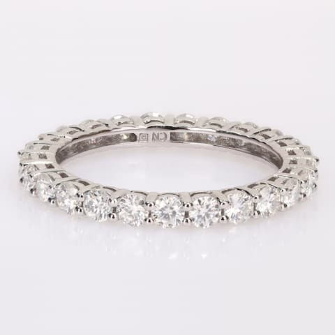 Miadora 1 1/2ct DEW Moissanite Stackable Full-Eternity Band Ring in 10k White Gold