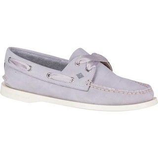 Sperry Top-Sider Women's Authentic Original Satin Lace Boat Shoe Light Purple Leather