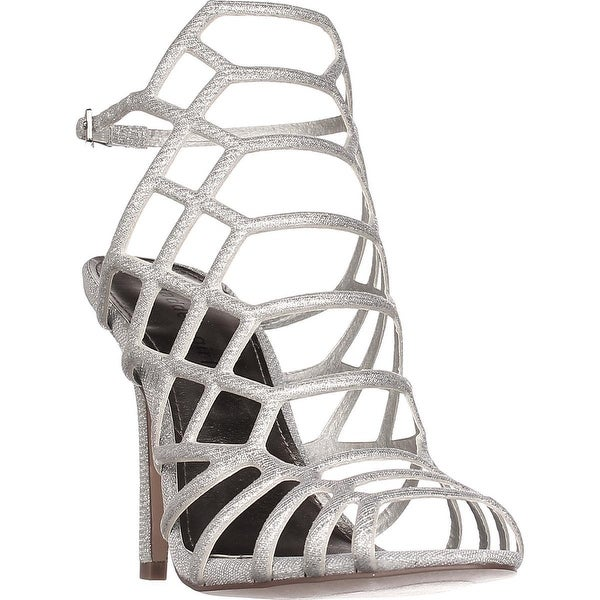 madden girl Directt Caged Ankle Strap Sandals, Silver