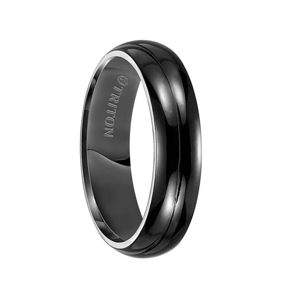 TROY Domed Polished Black Titanium Wedding Band by Triton Rings - 6 mm