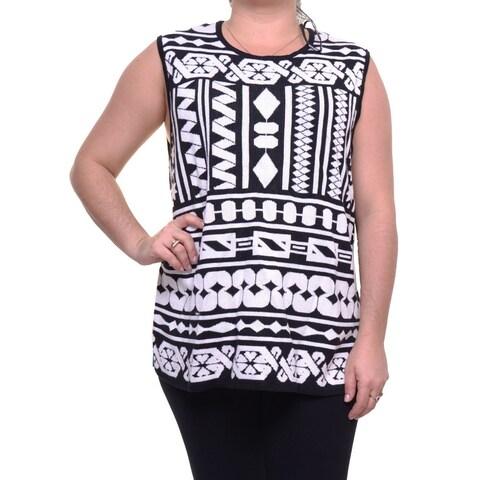 Anne Klein Black Womens Size 3X Plus Abstract Print Crewneck Top