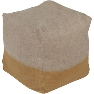 """18"""" Beige and Gold Two-Tone Print Square Wool Pouf Ottoman"""