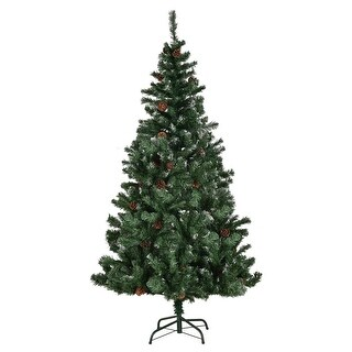 Gymax 7' Premium PVC Artificial Christmas Tree Hinged 61 Pine Cones Ornaments