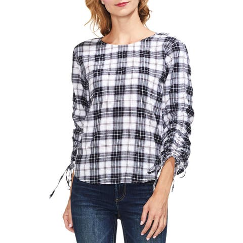 Vince Camuto Womens Blouse Plaid Ruched