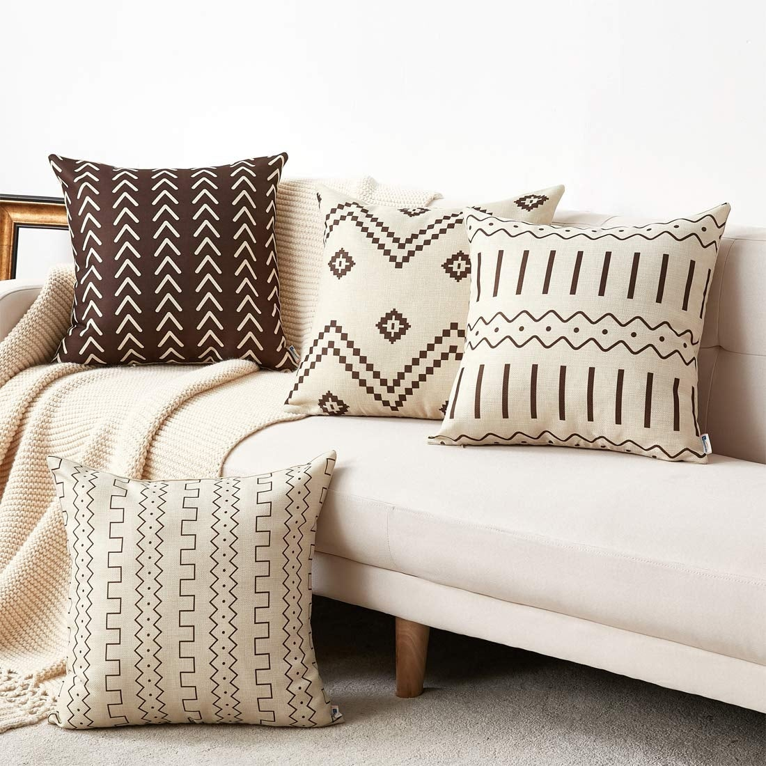Neutral Decorative Pillow Covers For Sofa Couch Chair Overstock 29175868