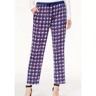 Tommy Hilfiger NEW Blue Red Womens Size Large L Houndstooth Print Pants