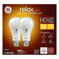 17W A21 Shape Soft White Light Color White Bulb - Pack of 2