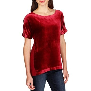 Lucky Brand Womens T-Shirt Velvet Zip-Up Back