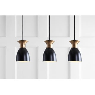 "Link to Edison 33.25"" Linear 3-Light Metal LED Cluster Pendant, Black/Brass Gold by JONATHAN  Y Similar Items in Island Lights"
