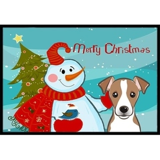 Carolines Treasures BB1880MAT Snowman With Jack Russell Terrier Indoor & Outdoor Mat 18 x 27 in.