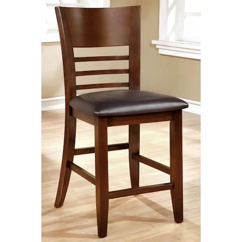 Furniture of America Yase Transitional Cherry Counter Chair Set of 2