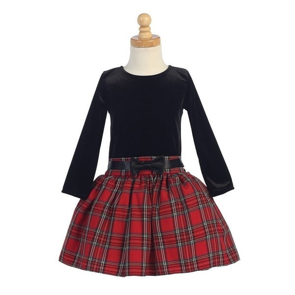 red velvet bodice plaid skirt girls christmas dress 5 10 - Girls Plaid Christmas Dress
