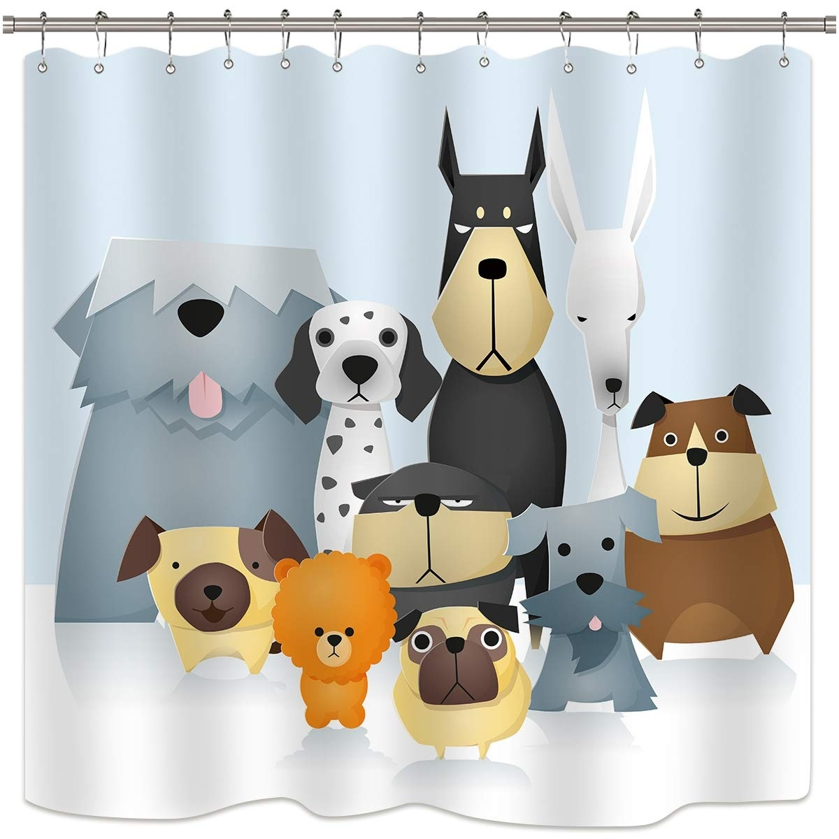 Cartoon Shower Curtain Colorful Puzzle Pieces Print for Bathroom