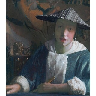Easy Art Prints Johannes Vermeer's 'Girl with a Flute' Premium Canvas Art