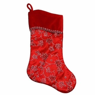 "20"" Red and Silver Glittered Floral Christmas Stocking with Shadow Velveteen Cuff"
