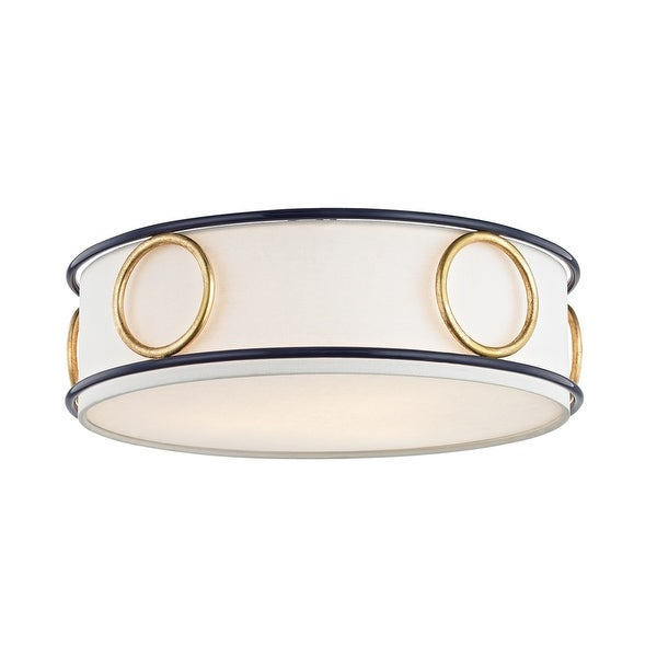 Mitzi by Hudson Valley Jade 3-light Gold Leaf Flush Mount with Navy Accents, Off White Linen. Opens flyout.