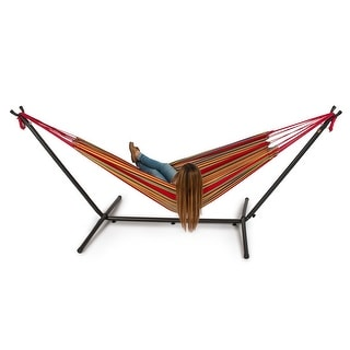 Belleze Double Hammock Space Saving Steel Stand with Portable Carrying Case Kit, Confetti
