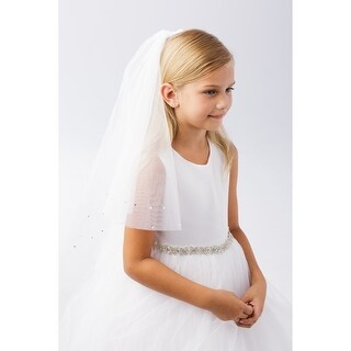 Girls White Scattered Pearl Rhinestone Raw Tulle Edge Flower Girl Communion Veil