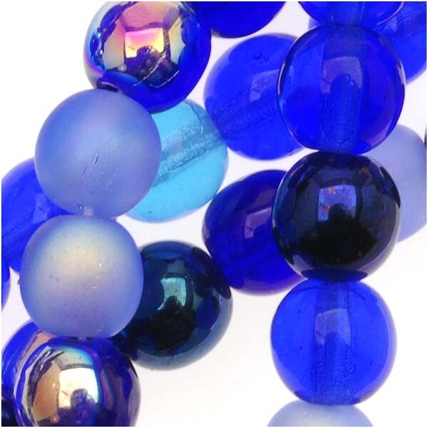 Czech Glass Druk 6mm Round Blue Tones Mix (50 Beads)