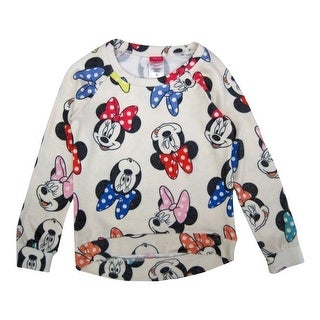 Disney Girls Bone White Minnie Allover Print Long Sleeve Sweater 8-16