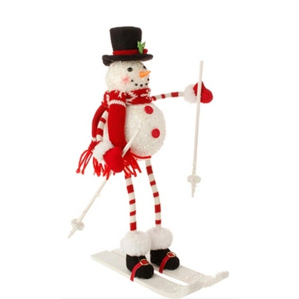 "13"" Alpine Chic Poseable Skiing Snowman with Top Hat Christmas Tabletop Decoration - WHITE"