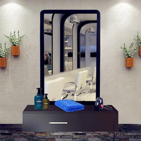 Wall Mount Salon Stations Styling Locking Storage Beauty Salon Spa Equipment Black