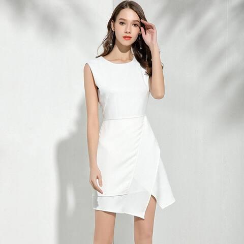 Ladies Temperament White Sleeveless Dress Irregular Slim