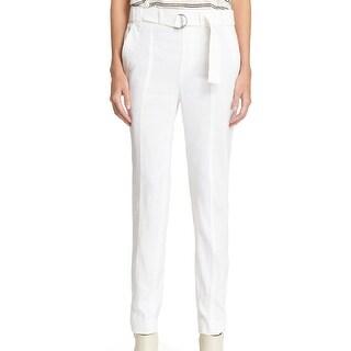 Vince NEW White Women's Size 4 Belted Slim Leg Linen Trouser Pants