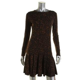 MICHAEL Michael Kors Womens Printed Drop Waist Wear to Work Dress - L
