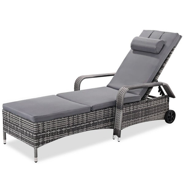 Patio Lounge Chair Wheels: Shop Costway Outdoor Chaise Lounge Chair Recliner