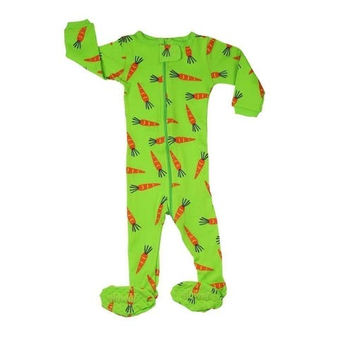 Elowel Baby Girls Green Carrots Print Zipper Footed Pajama Sleeper