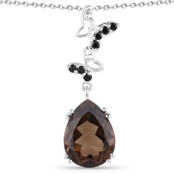 Malaika Sterling Silver 7 1/2ct Smoky Quartz and Black Spinel Necklace. Opens flyout.