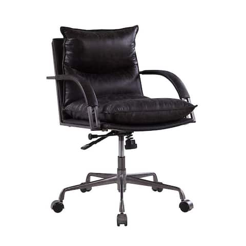 Leatherette Office Chair with Tufted Pillow Back, Black