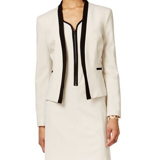 Nine West NEW Beige Black Women's Size 16 Contrast-Trim Open Jacket