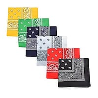 Mechaly Paisley 100% Cotton Double Sided Bandanas - 12 Pack - One Dozen