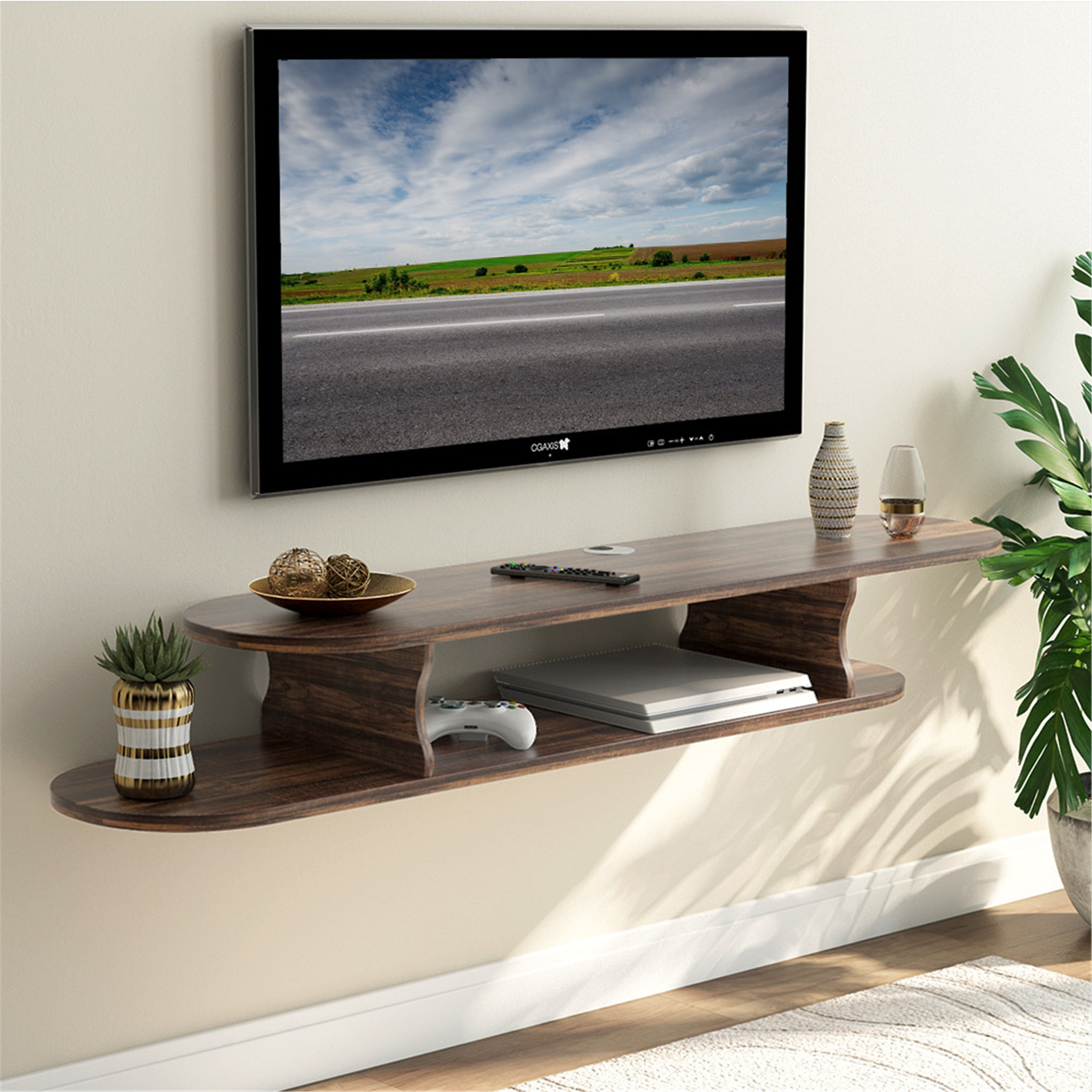 39.4x11.8x7.2inch 2 Tier Wall Mounted TV Stand with 3 Spacious Storage,Wooden Floating Tv Shelf Cabinet Modern Home Decor Hanging Media Console for Cable Box Set-top Box Black 100x30x18.2cm