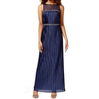 London Times NEW Blue Women's Size 4 Embellished Pleated Maxi Dress