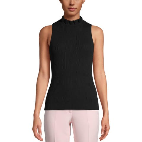 Anne Klein Womens Tank Top Sweater Ribbed Ruffled Neck - Anne Black