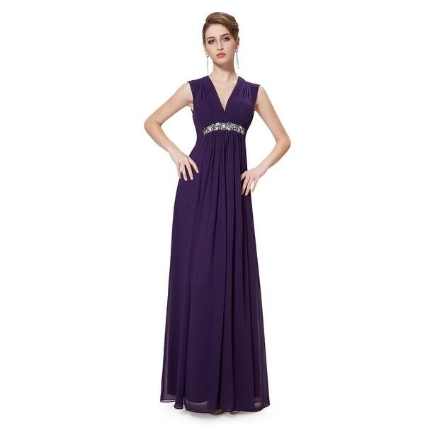 Grape V-Neck Chiffon Sleeveless Bridesmaid Dresses With Beaded Waistband 93857830c2df