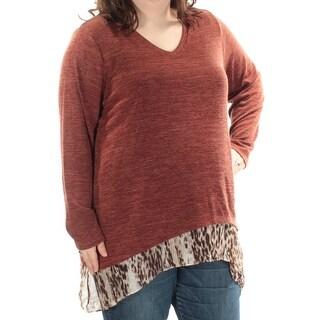 STYLE & COMPANY $45 Womens 1492 Brown Animal Print Layered Sweater 2X Plus B+B