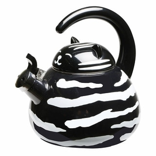 Whistling Black And White Tuxedo Cat Enamel Teakettle