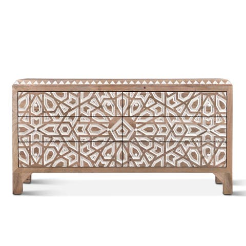 Haveli Geometric Carved Dresser