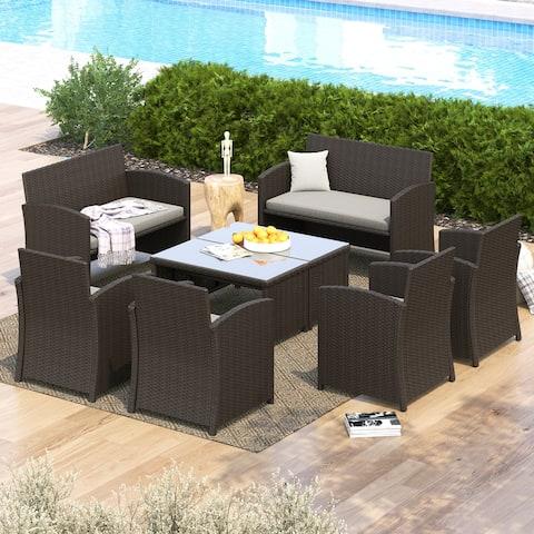 Corvus Alsace 8-piece Outdoor Rattan Sofa Conversation Set with Cushions