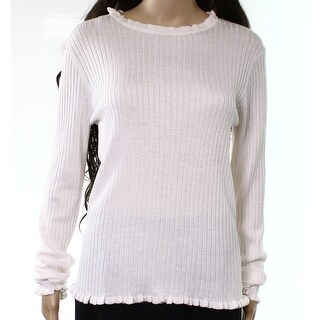 John + Jenn Light Pink Womens Size XL Ribbed Ruffle Hem Sweater