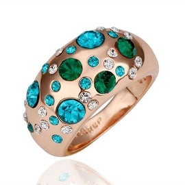 Rose Gold Plated Emerald Covering Jewels Ring