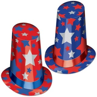 Club Pack of 10 Red, White and Blue Patriotic Super Hi-Hat Costume Accessories 13""