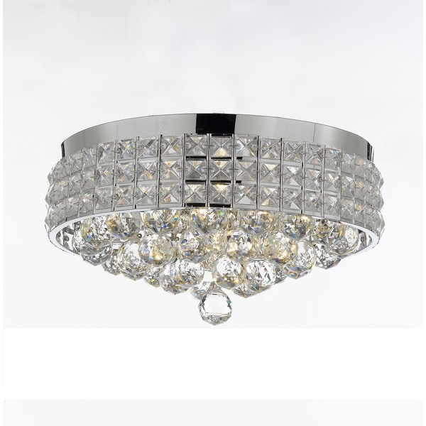 Flush Mount French Empire Crystal Chandelier with 40MM Crystal Balls Crystal Chrome