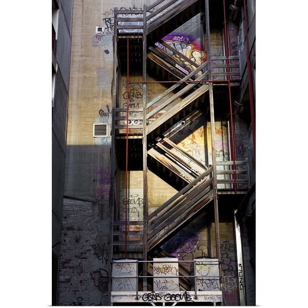 """Fire escape on building in Hosier Lane."" Poster Print"