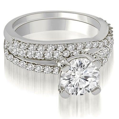1.45 cttw. 14K White Gold Two Row Lucida Round Cut Diamond Bridal Set